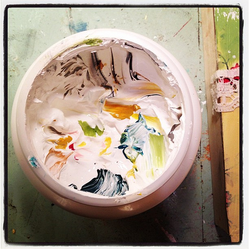 The inside of my white paint jar. Clearly I am not disciplined.