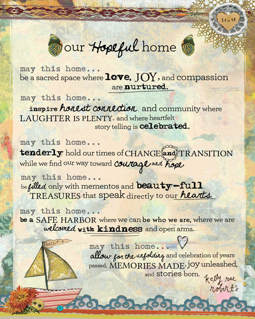 Our Hopeful Home Manifesto - Kelly Rae Roberts - prints - Manifestos