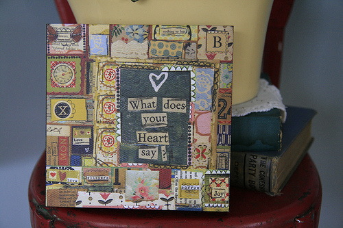 what does your heart say 6x6 canvas