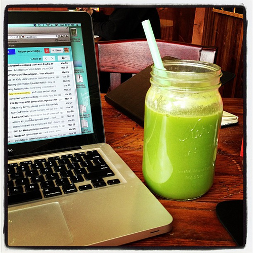 My life lately: Green juice and emails. Repeat. Repeat.