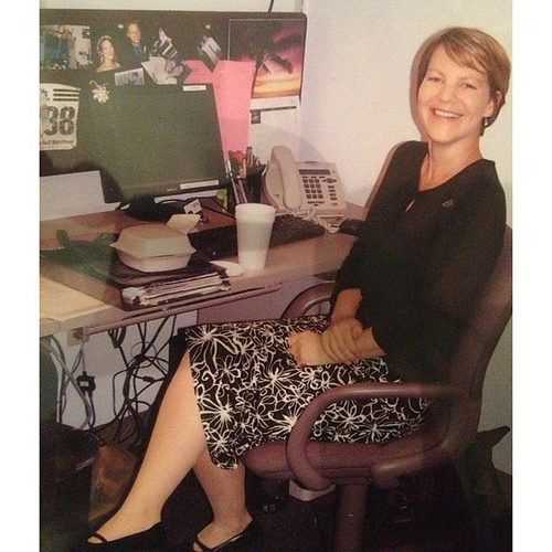 """Happy throwback Thursday! This is me in 2006, age 31, before I was """"an artist.""""  I am at my social work job, in my old office that sure looks different from my current studio! What I especially love about this photo is that I am wearing the only black shi"""