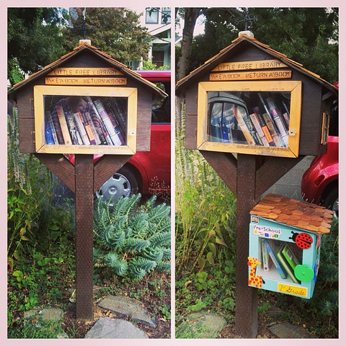 The before and after of our #littlefreelibrary !!! My dad built us a cute little annex for kid books. Seriously, #howcuteisthat?