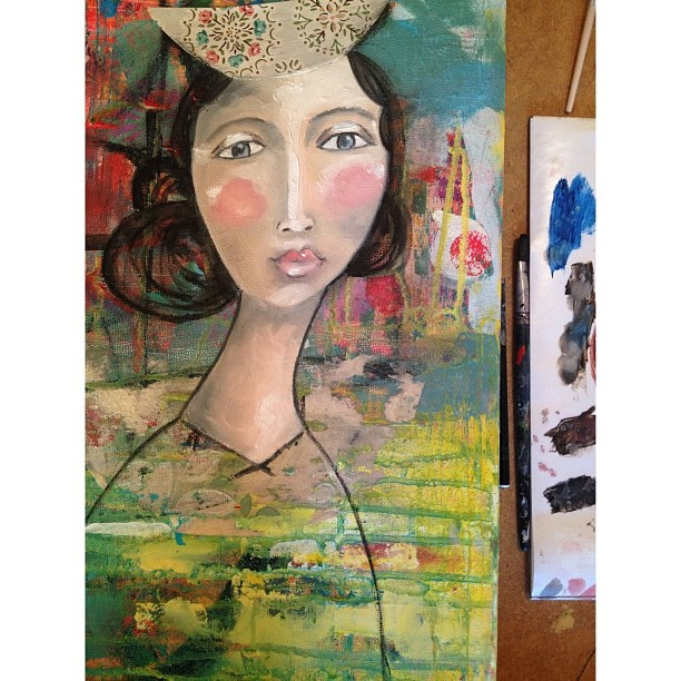 Emerging. The piece on her head will be certain something. #ilovepainting #paintinginprogress