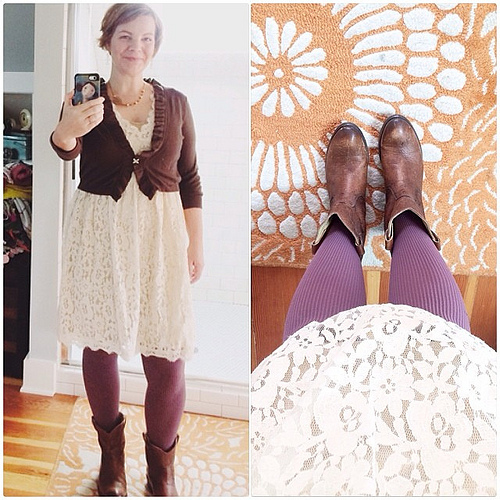 Treated myself to a doily dress the other day. Have always wanted one (thanks anthro - you make it easy to shop) and I'm loving it paired with purple tights and boots. Feeling #dressedupinjoy today. My intention for the day? To remain calm, centered, and