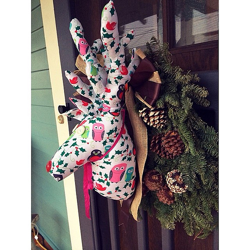 Somebody (hi mom) snuck a very awesome DIY reindeer on our front door when we weren't looking. #loveit #rednose #todayisfullofsurprises #feelingloved #merry