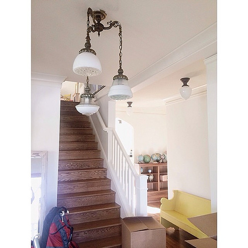 Our vintage light fixture from the old house is now in the new entry way. #makesabigdifference #newbeginning  #feelsmorelikehomenow