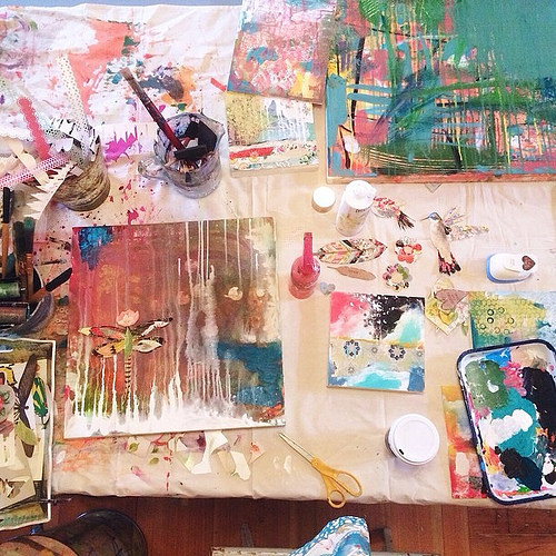 Current scene. It's like therapy. Nothing nourishes more than making art. #lovemyjob #grateful