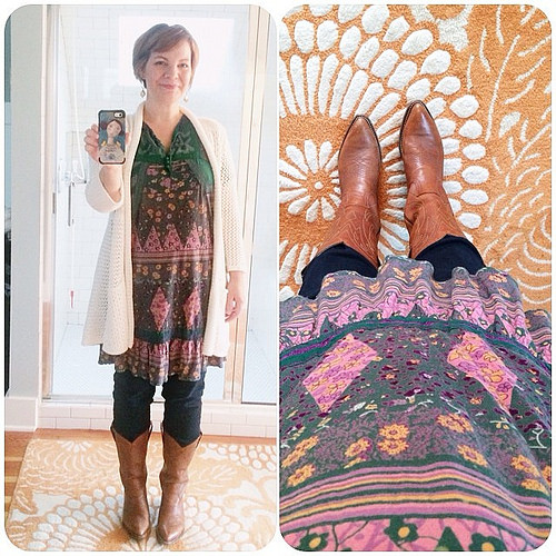 Wearing a sweet thrifted tunic that @lynzeelynx gifted me. It's gonna be a good day. #dressedupinjoy #thewearyourjoyproject #wearyourjoy